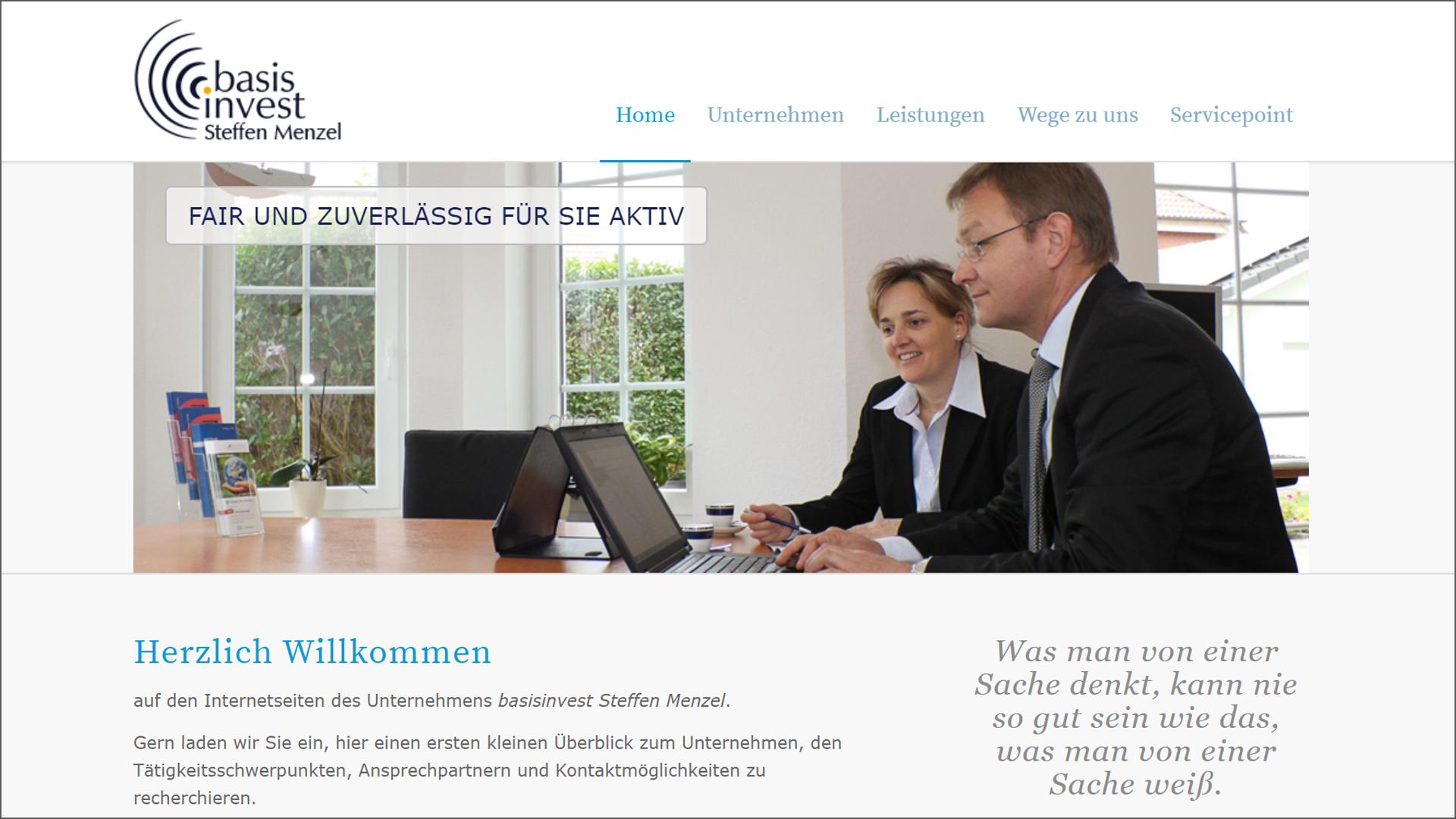 Screenshot Website Home/Chef mit Sekretärin - basisinvest