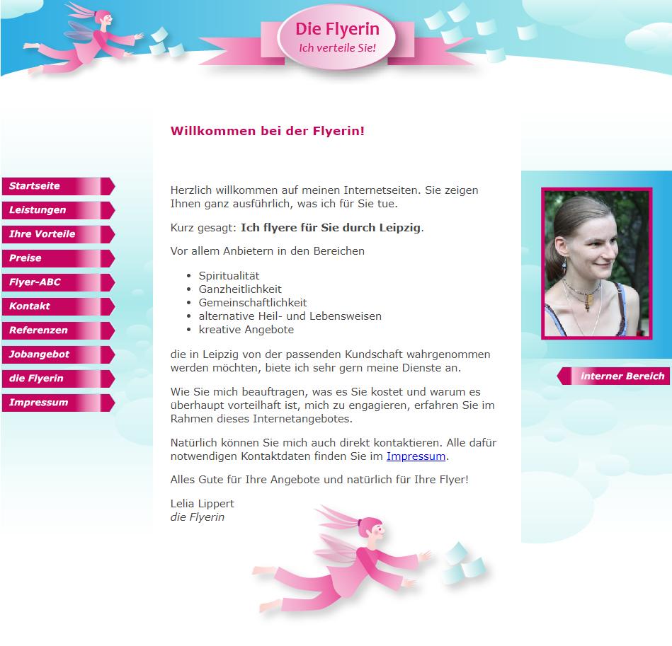 Screenshot Website Willkommen bei der Flyerin - DieFlyerin