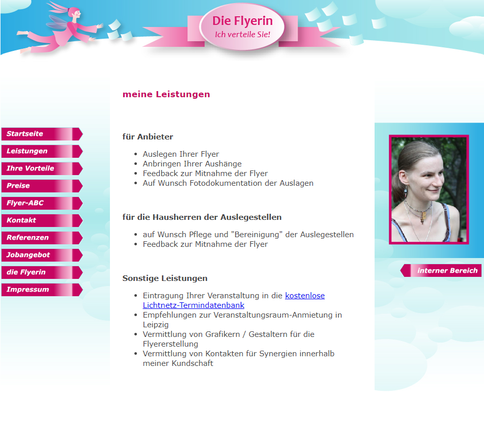 Screenshot Website Leistungen - DieFlyerin