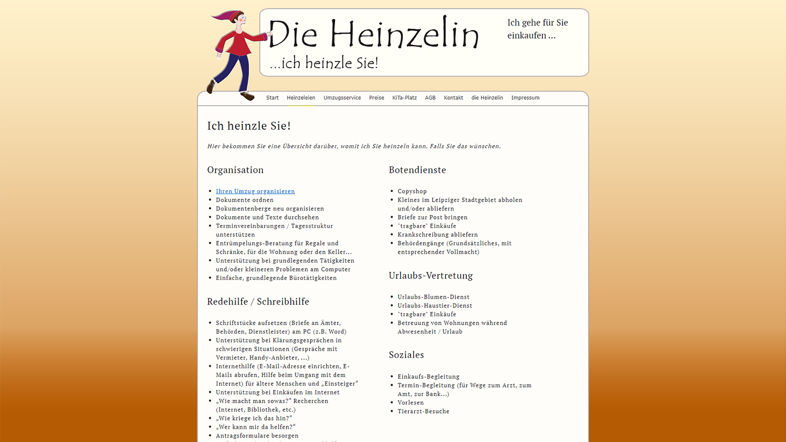 Screenshot Website Heinzeleien - DieHeinzelin