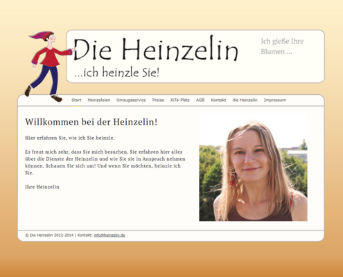 Screenshot Website Willkommen / Home - DieHeinzelin