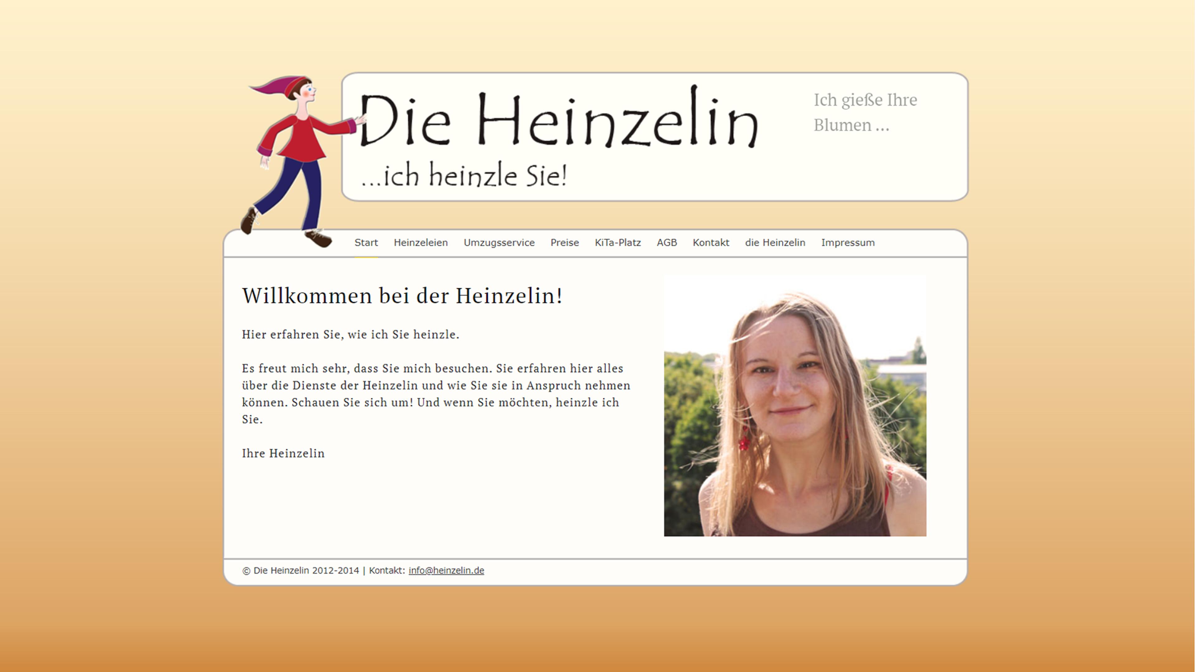 Screenshot der Website der Heinzelin