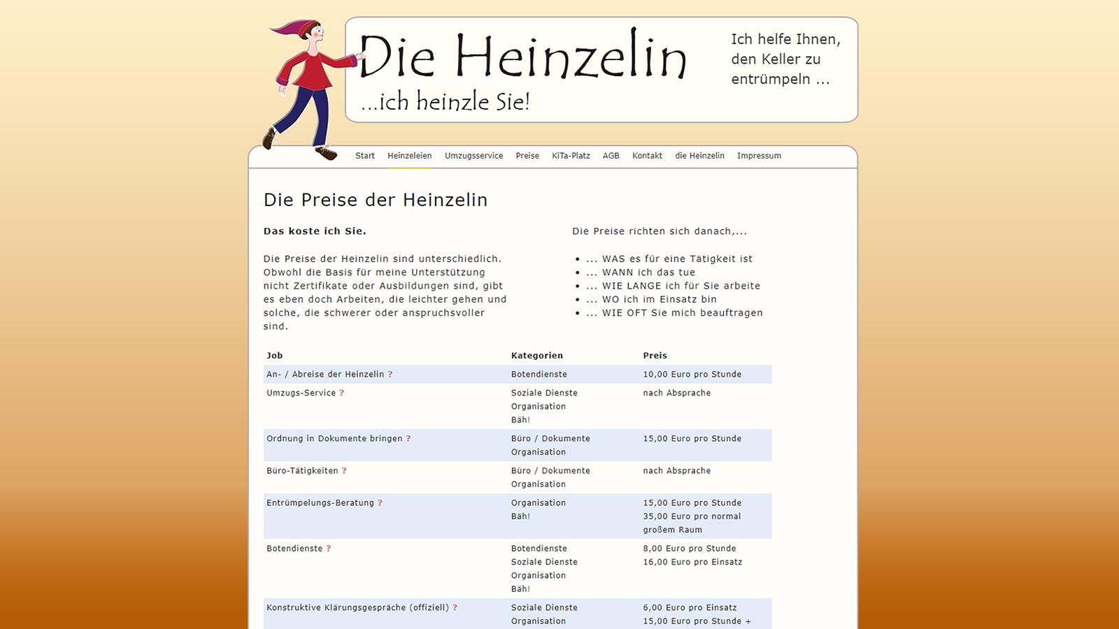 Screenshot Website Preise - DieHeinzelin