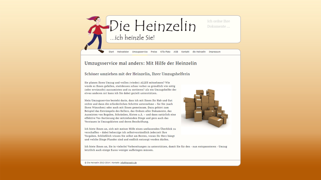 Screenshot Website Umzugsservice - DieHeinzelin