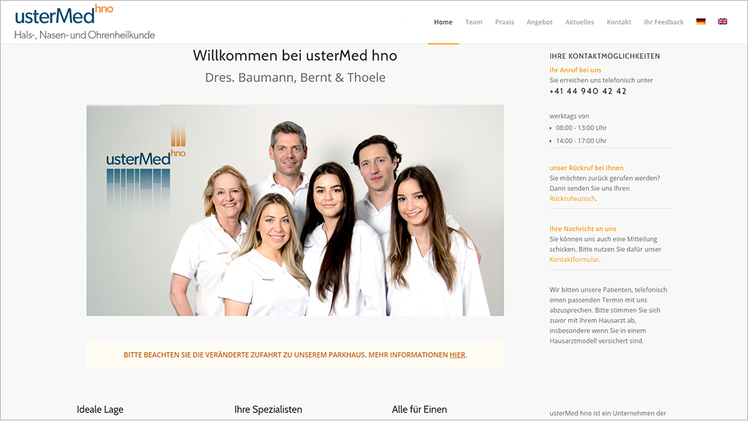 Screenshot Website Willkommen bei - usterMedhno