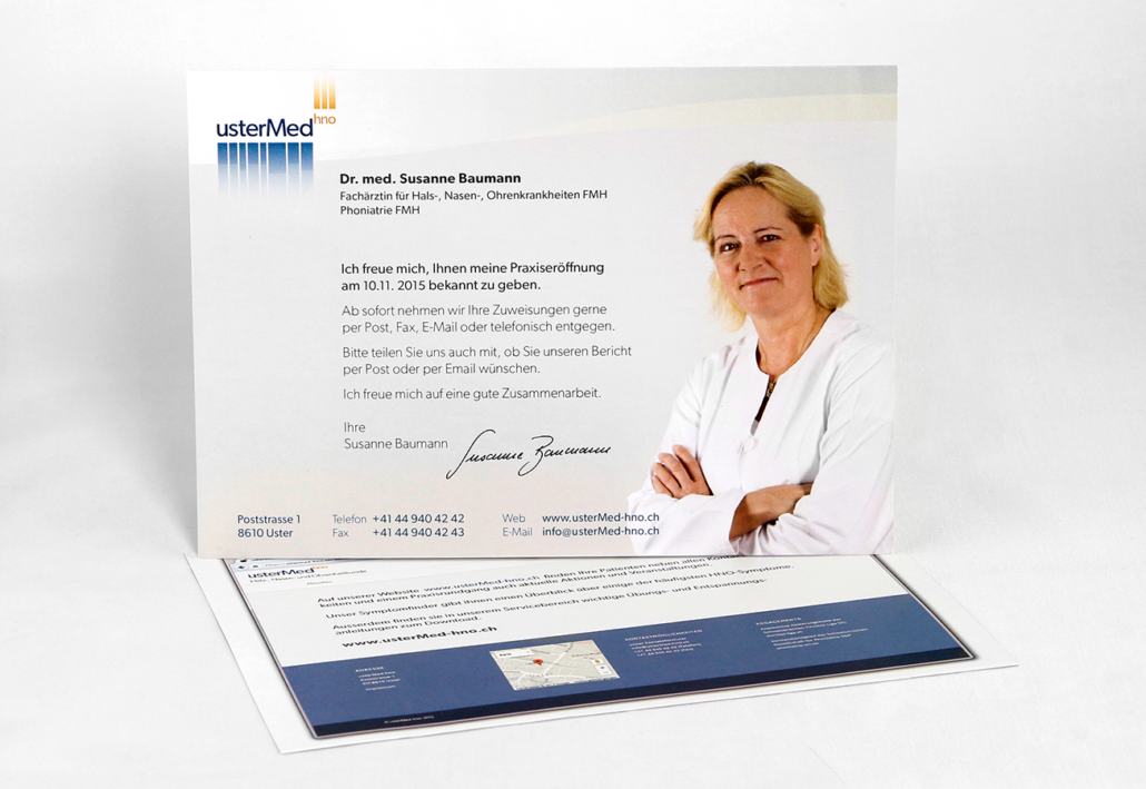 Foto Karte Praxiseröffnung Susanne Baumann- usterMedhno