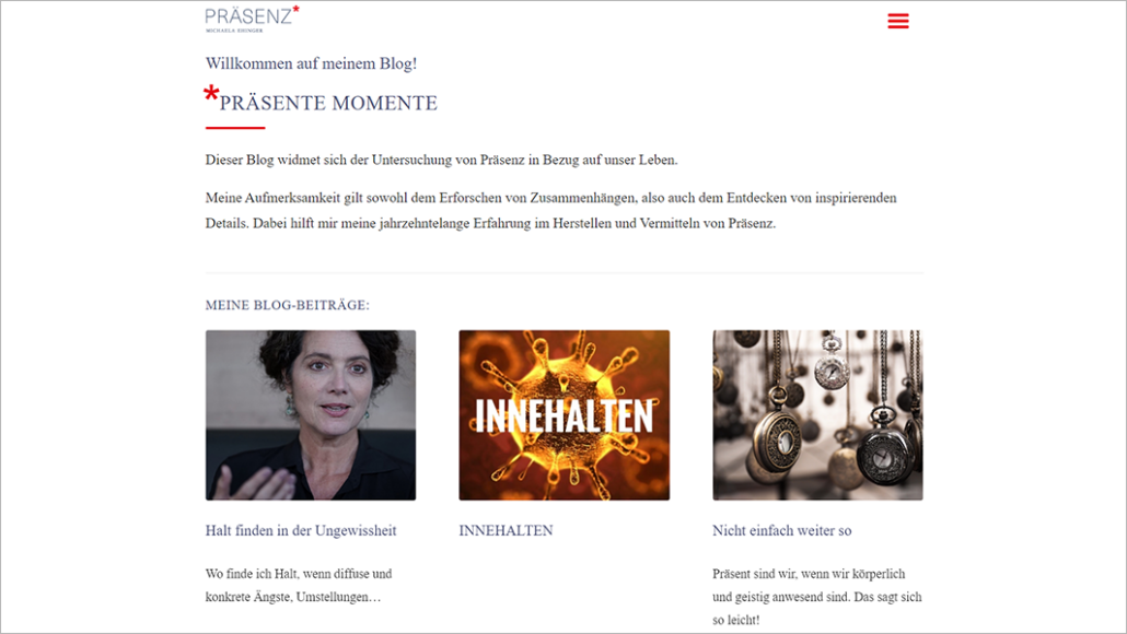 Screenshot Website Blog - Präsenz Michaela Ehinger