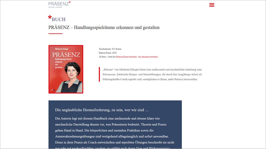 Screenshot Website Handlungsspielräume erkennen und gestalten- Präsenz Michaela Ehinger