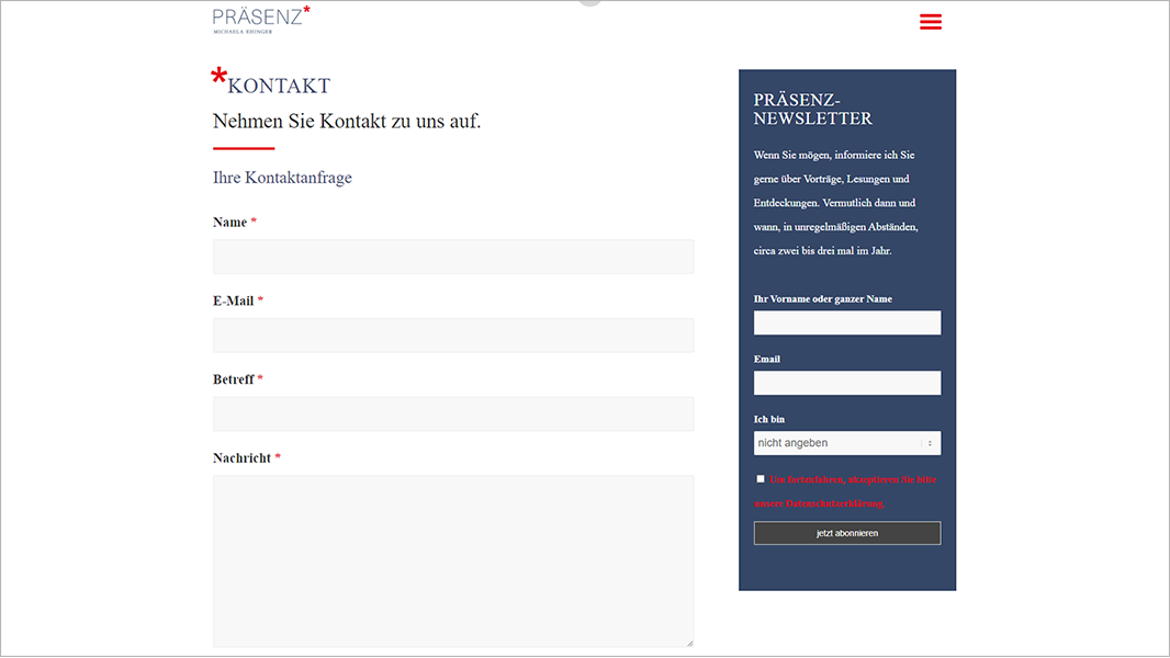 Screenshot Website Kontakt - Präsenz Michaela Ehinger