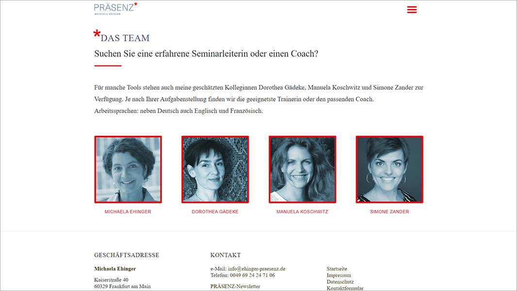 Screenshot Website Das Team - Präsenz Michaela Ehinger