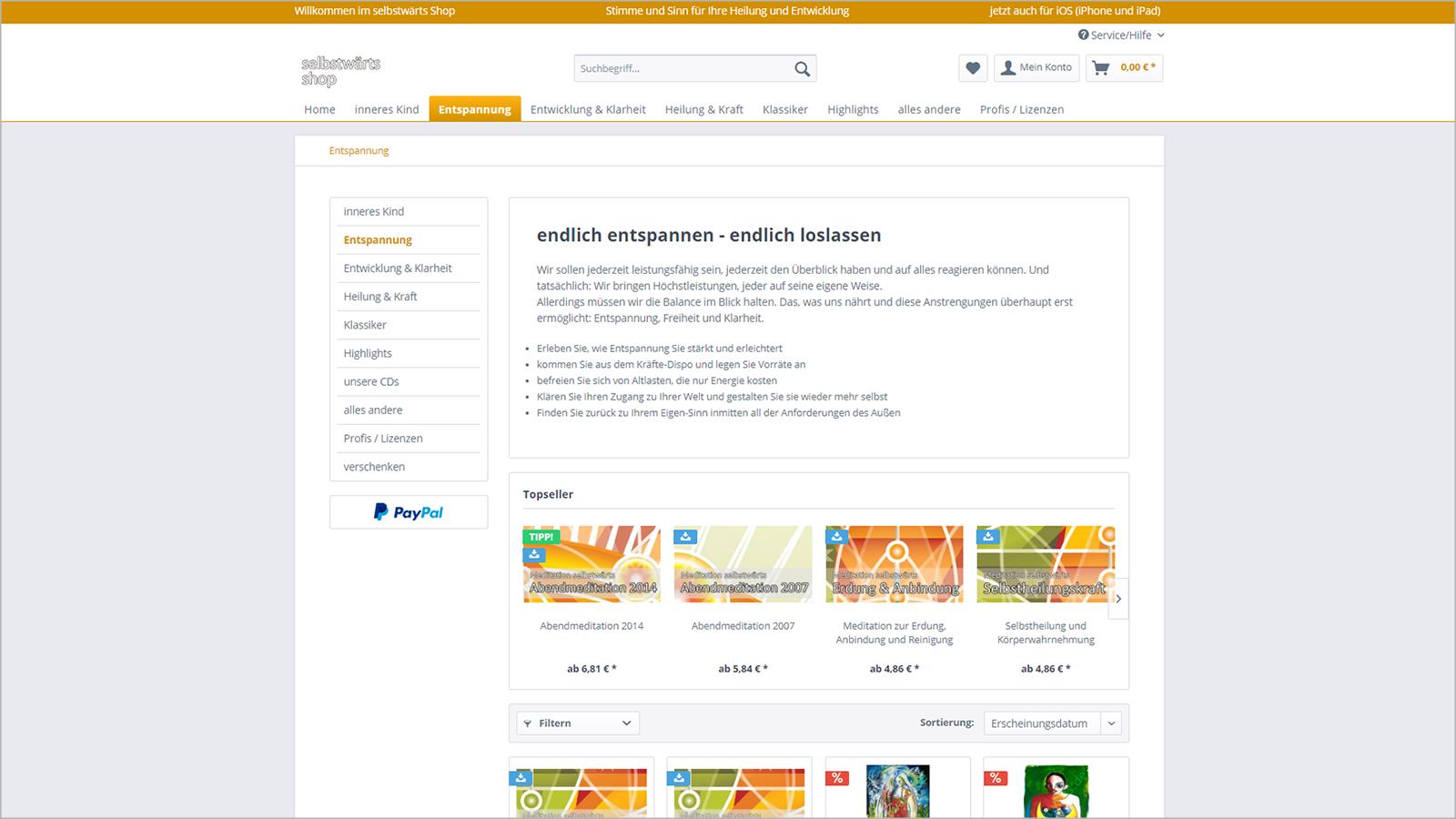 Screenshot Website Artikel zur Entspannung - selbstwärtsshop