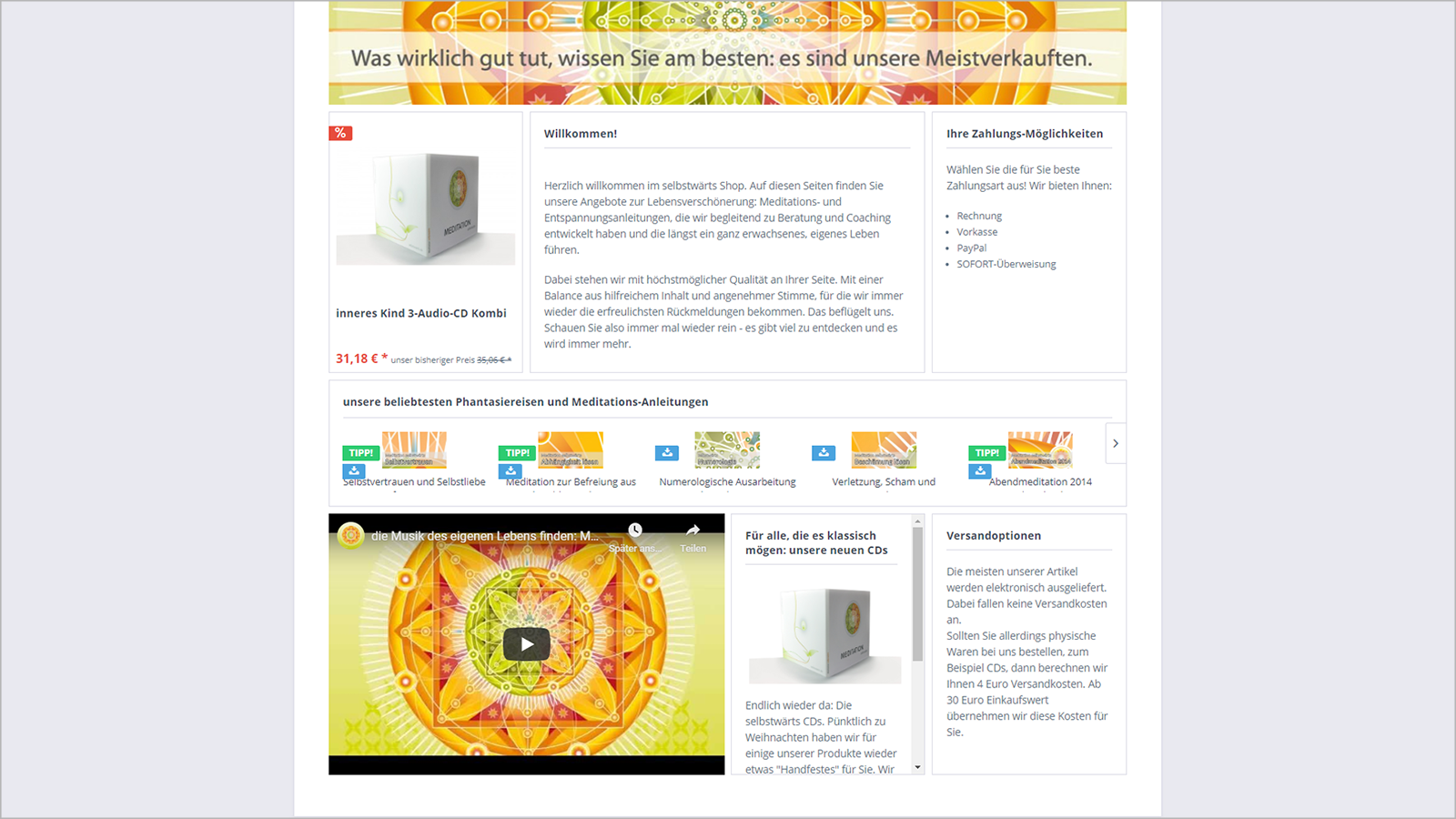 Screenshot Website Home Ende - selbstwärtsshop
