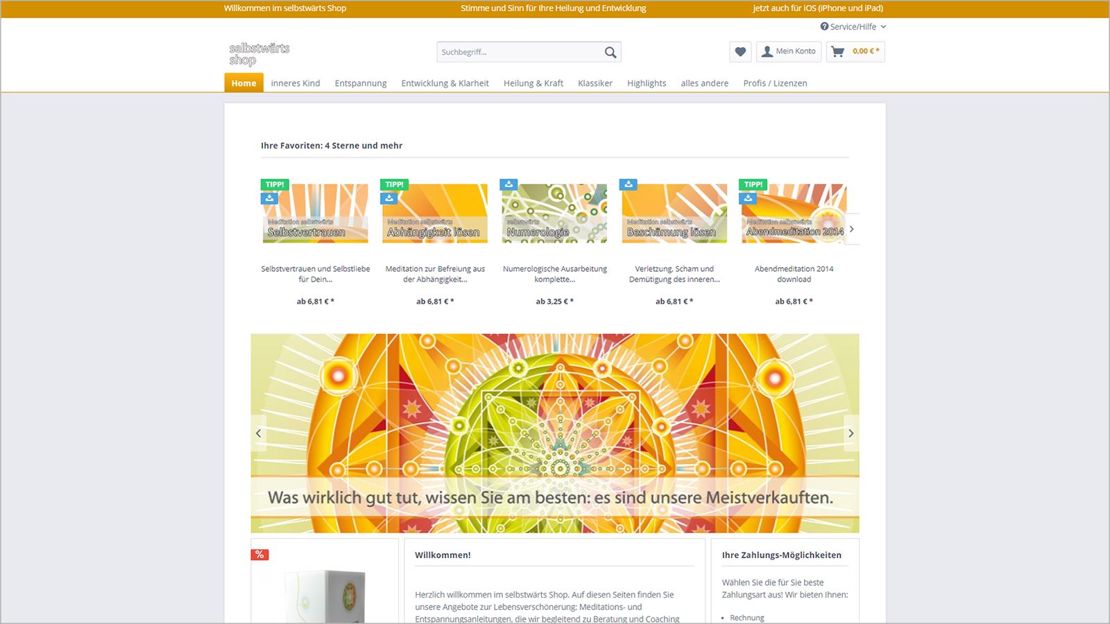 Screenshot Website Home - selbstwärtsshop