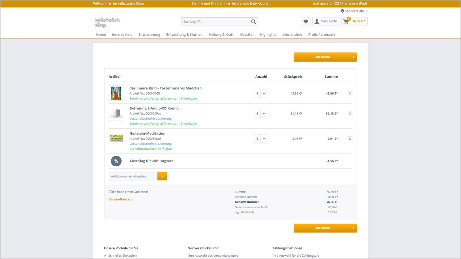 Screenshot Website Warenkorb - selbstwärtsshop
