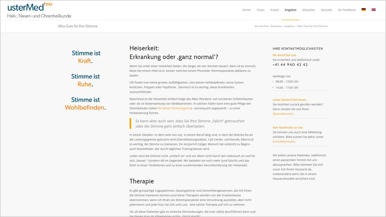 Screenshot Website Alles Gute für ihre Stimme usterMedhno