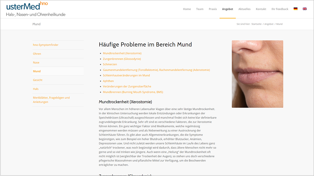 Screenshot Website Symthomfinder Mund - usterMedhno