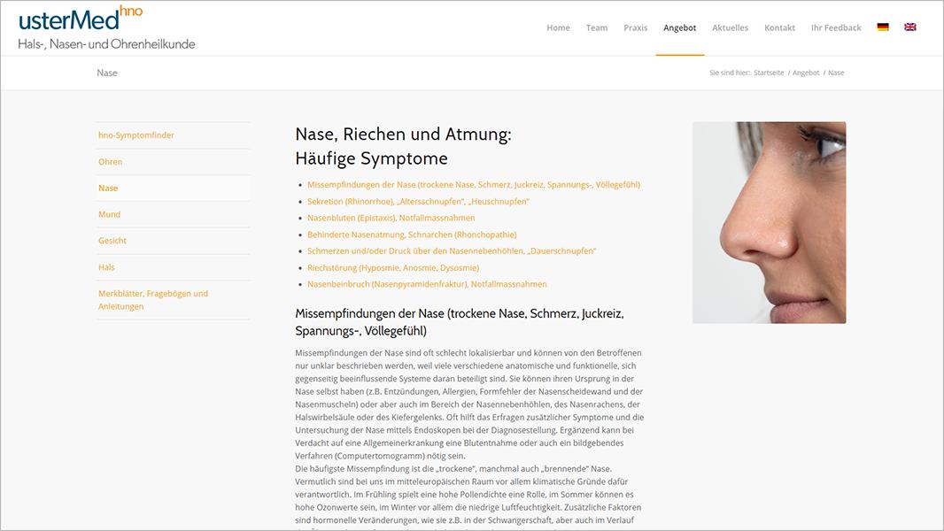 Screenshot Website Symthomfinder Nase - usterMedhno