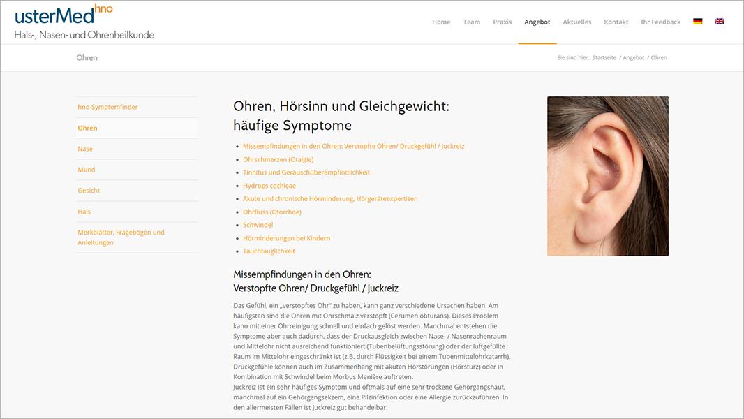 Screenshot Website Symthomfinder Ohren - usterMedhno