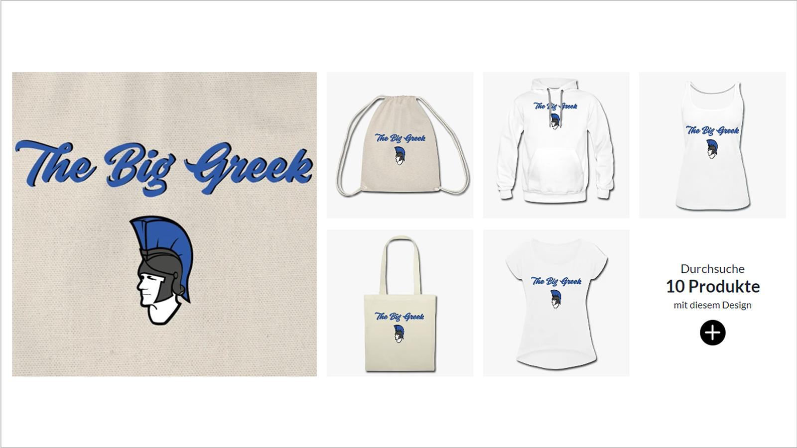Screenshot Merchandise-Seite von The Big Greek mit Logo
