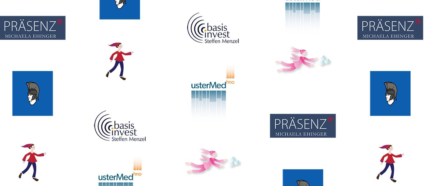 Mehrere Logos in wilder Zusammenstellung