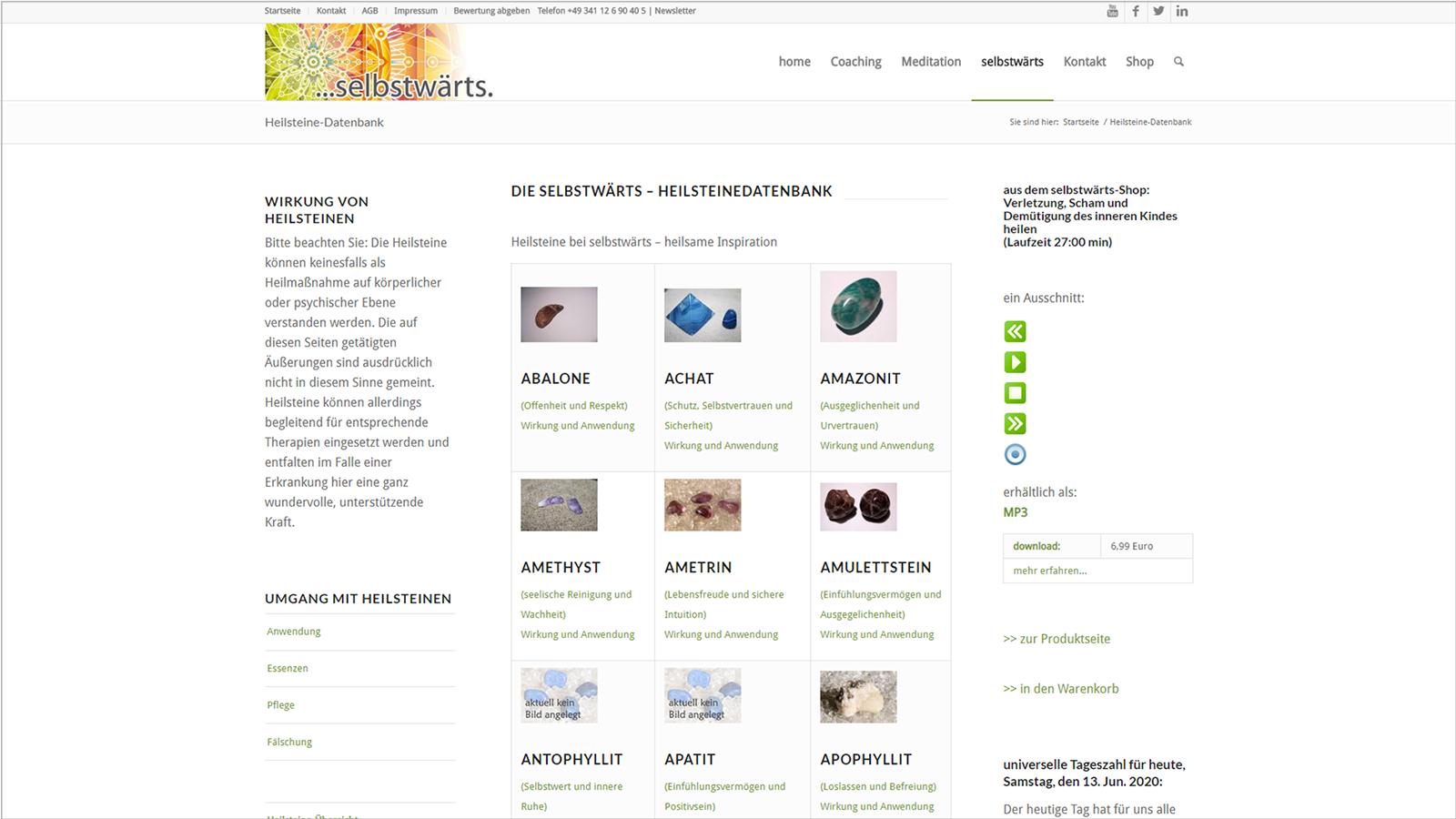 Screenshot Website Heilsteindatenbank - Meditation selbstwärts