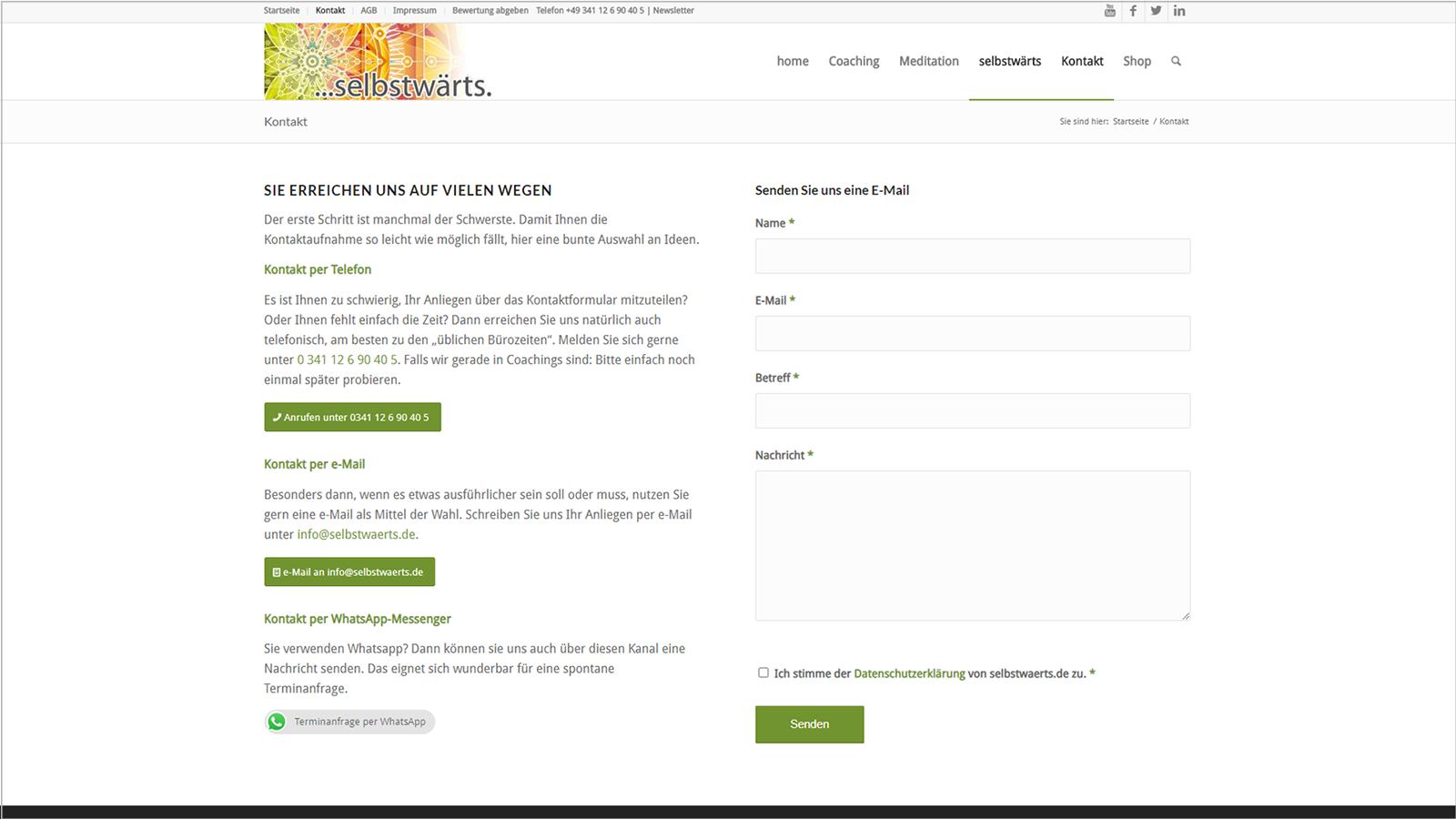 Screenshot Website Kontakt - Meditation selbstwärts