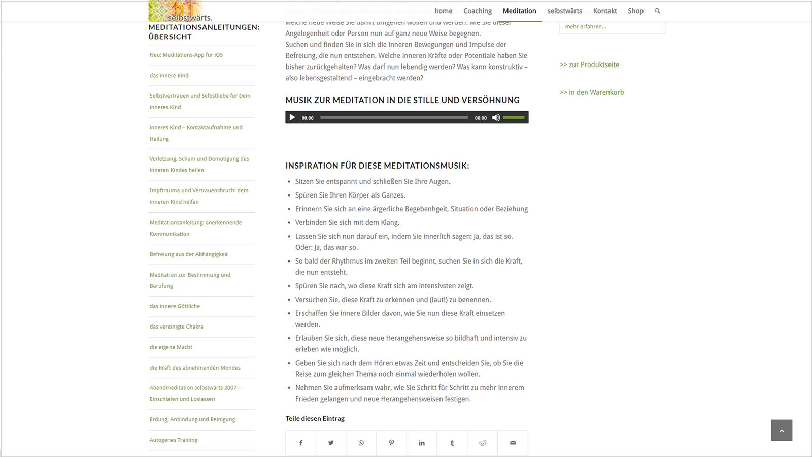 Screenshot Website Musik zur Meditation - Meditation selbstwärts