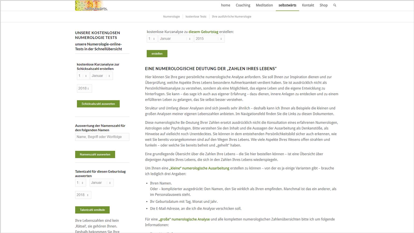 Screenshot Website Numerologie - Meditation selbstwärts
