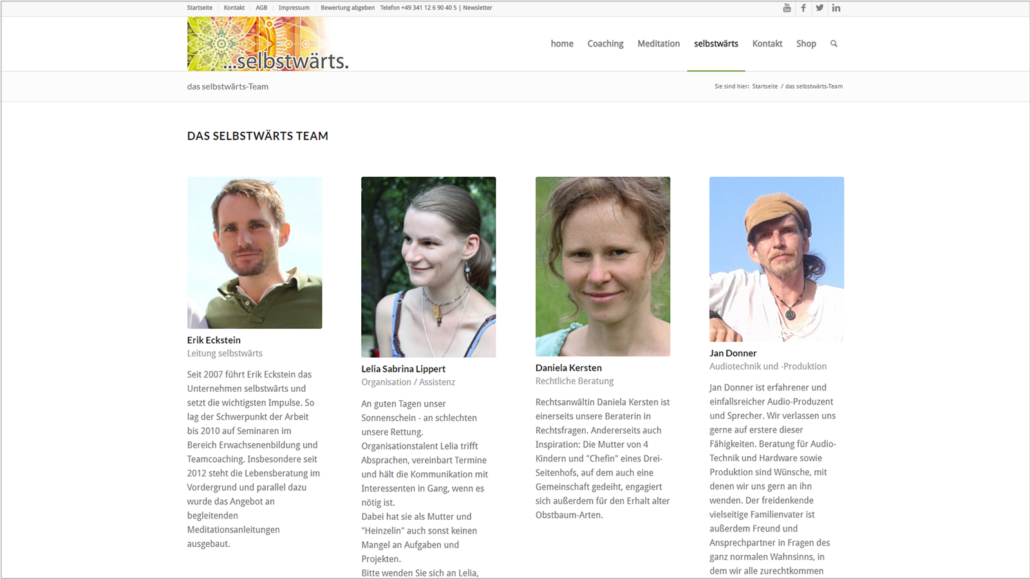 Screenshot Website Team - Meditation selbstwärts