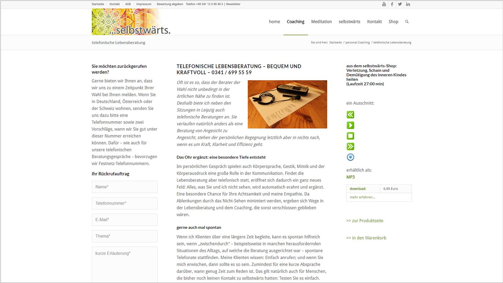 Screenshot Website Telephonische Lebensberatung - Meditation selbstwärts